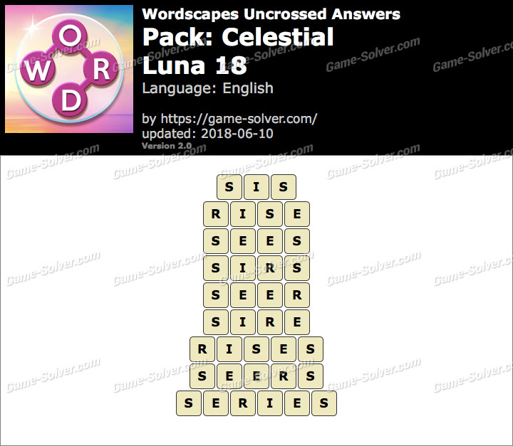 Wordscapes Uncrossed Celestial-Luna 18 Answers