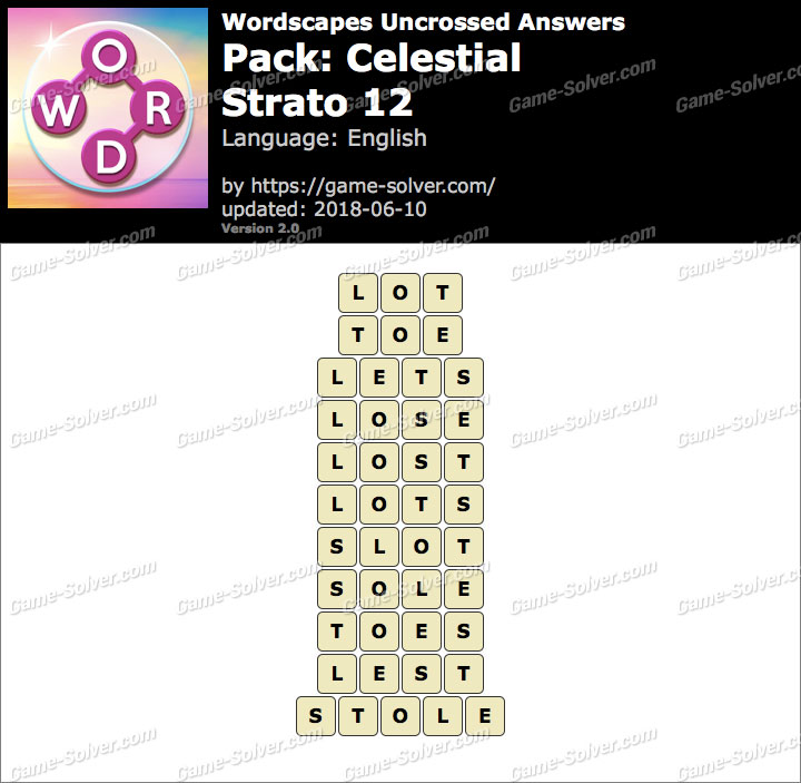 Wordscapes Uncrossed Celestial-Strato 12 Answers