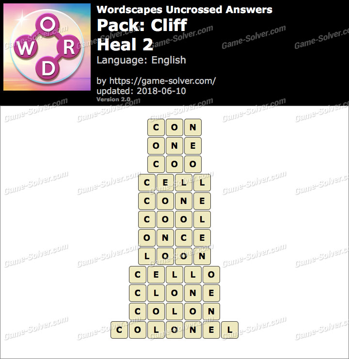 Wordscapes Uncrossed Cliff-Heal 2 Answers