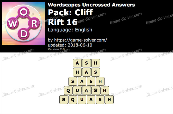 Wordscapes Uncrossed Cliff-Rift 16 Answers