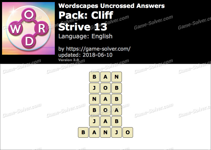 Wordscapes Uncrossed Cliff-Strive 13 Answers