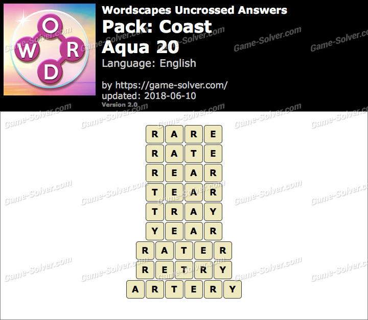 Wordscapes Uncrossed Coast-Aqua 20 Answers
