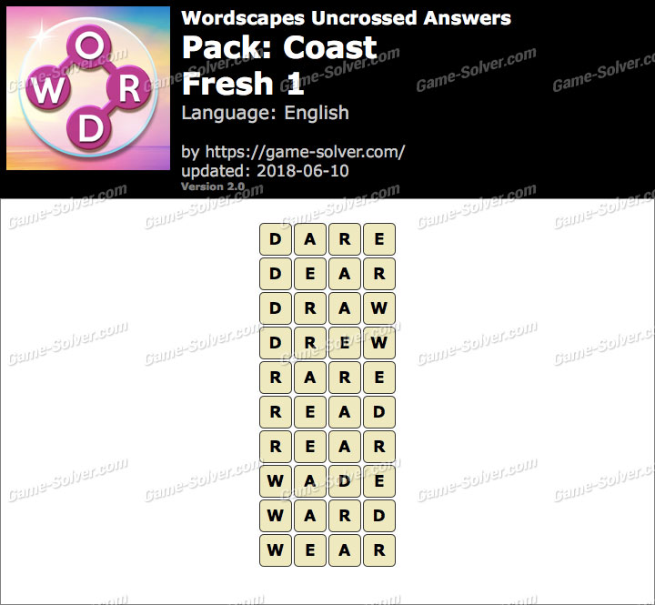 Wordscapes Uncrossed Coast-Fresh 1 Answers