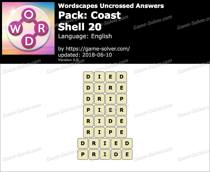 Wordscapes Uncrossed Coast-Shell 20 Answers