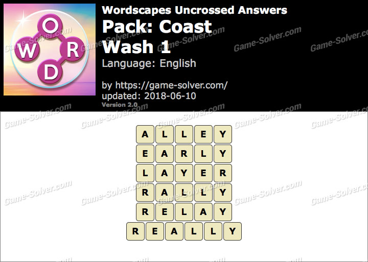Wordscapes Uncrossed Coast-Wash 1 Answers
