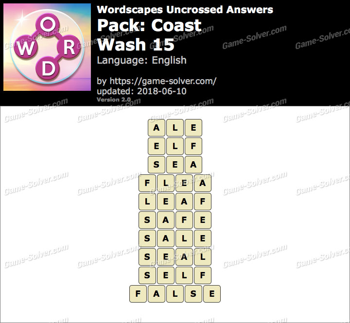 Wordscapes Uncrossed Coast-Wash 15 Answers