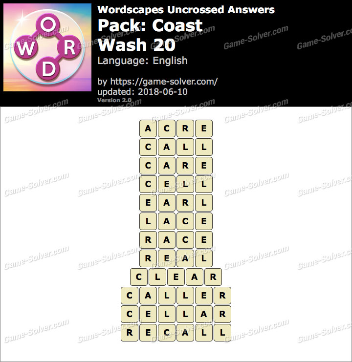 Wordscapes Uncrossed Coast-Wash 20 Answers