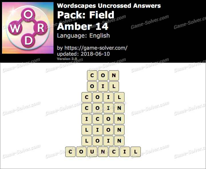 Wordscapes Uncrossed Field-Amber 14 Answers