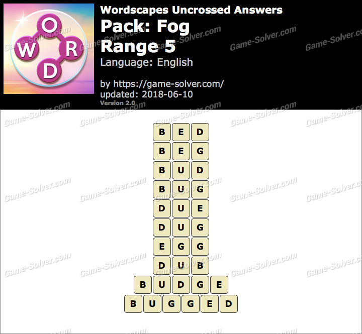 Wordscapes Uncrossed Fog-Range 5 Answers