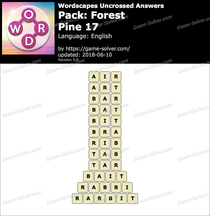 Wordscapes Uncrossed Forest-Pine 17 Answers