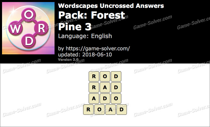 Wordscapes Uncrossed Forest-Pine 3 Answers