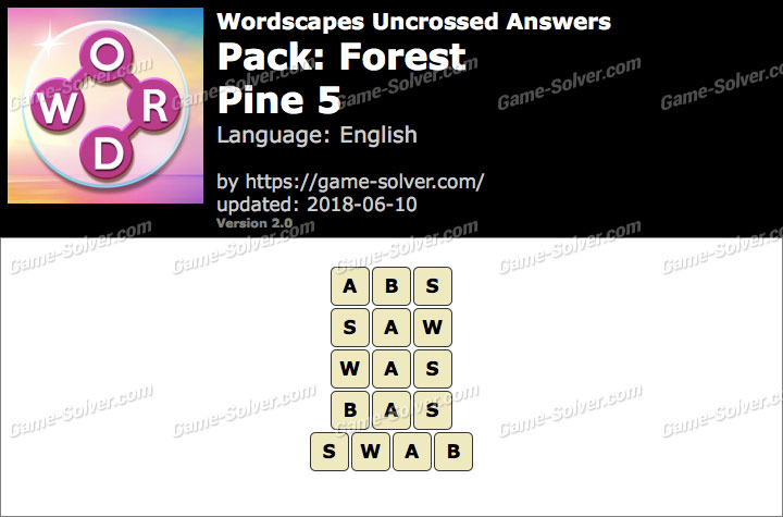 Wordscapes Uncrossed Forest-Pine 5 Answers