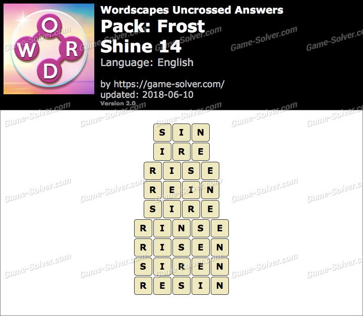 Wordscapes Uncrossed Frost-Shine 14 Answers