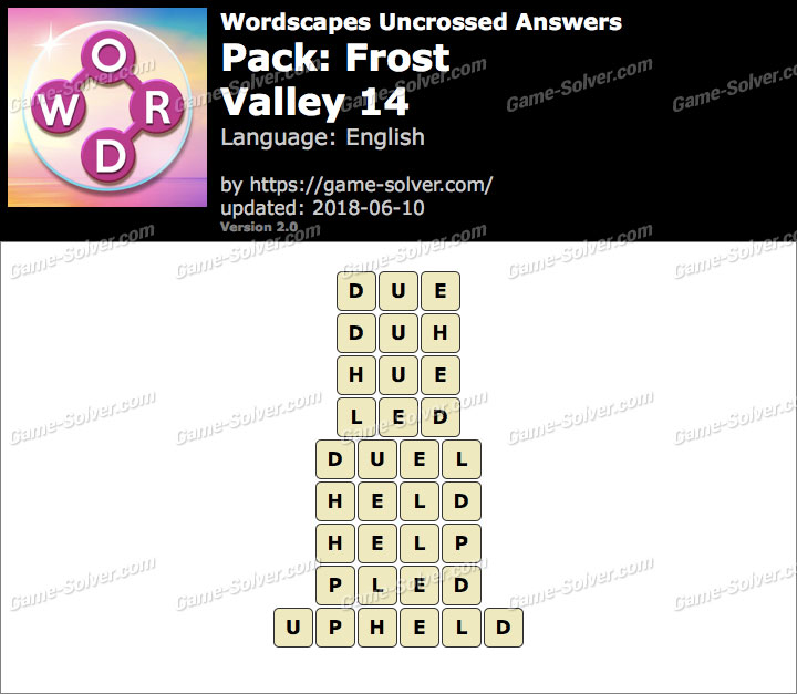 Wordscapes Uncrossed Frost-Valley 14 Answers
