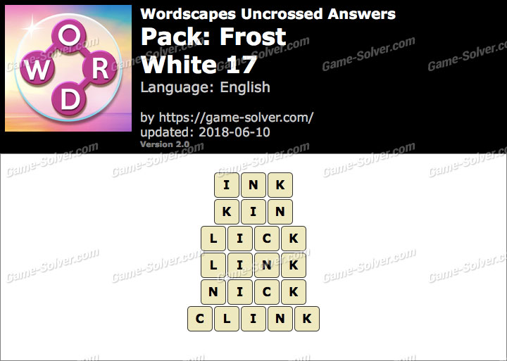 Wordscapes Uncrossed Frost-White 17 Answers
