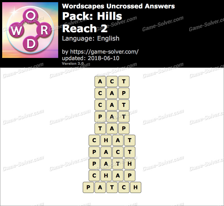 Wordscapes Uncrossed Hills-Reach 2 Answers