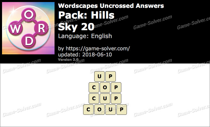 Wordscapes Uncrossed Hills-Sky 20 Answers