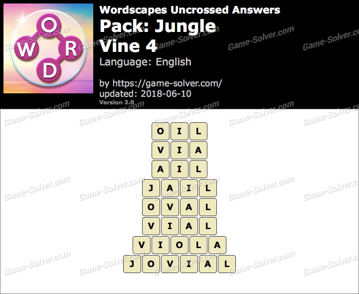 Wordscapes Uncrossed Jungle-Vine 4 Answers