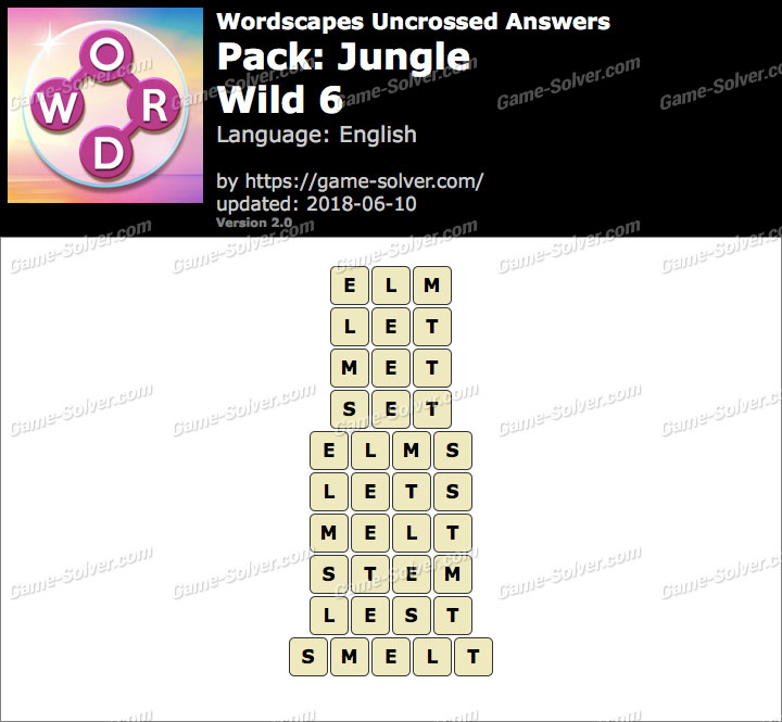 Wordscapes Uncrossed Jungle-Wild 6 Answers