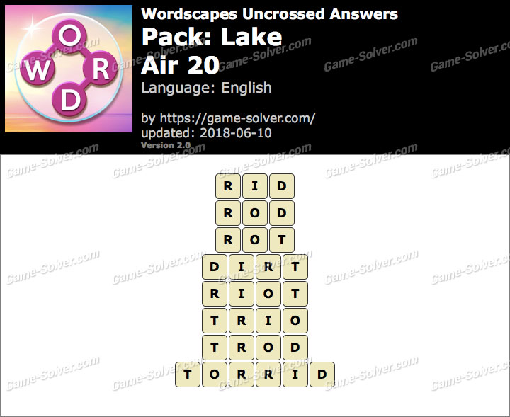 Wordscapes Uncrossed Lake-Air 20 Answers