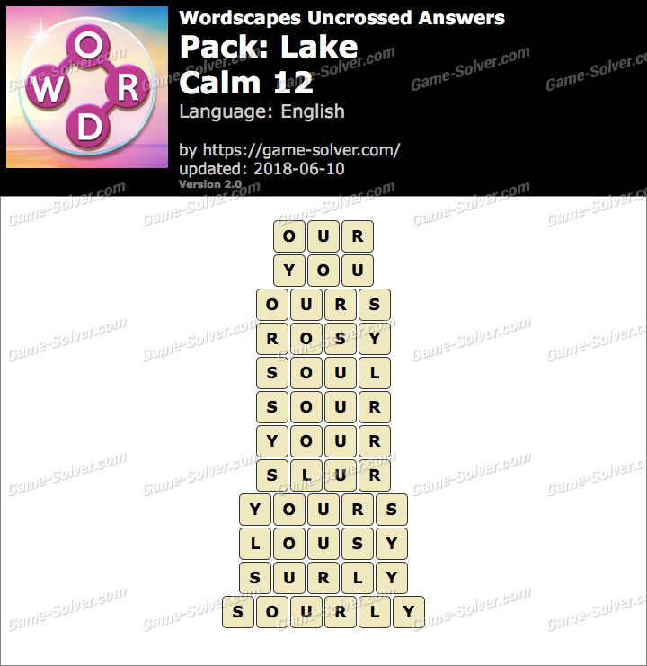 Wordscapes Uncrossed Lake-Calm 12 Answers