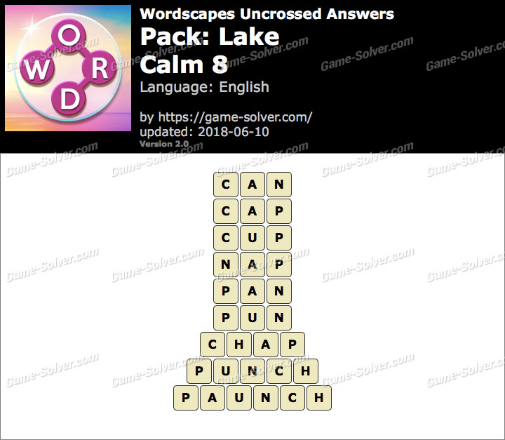 Wordscapes Uncrossed Lake-Calm 8 Answers