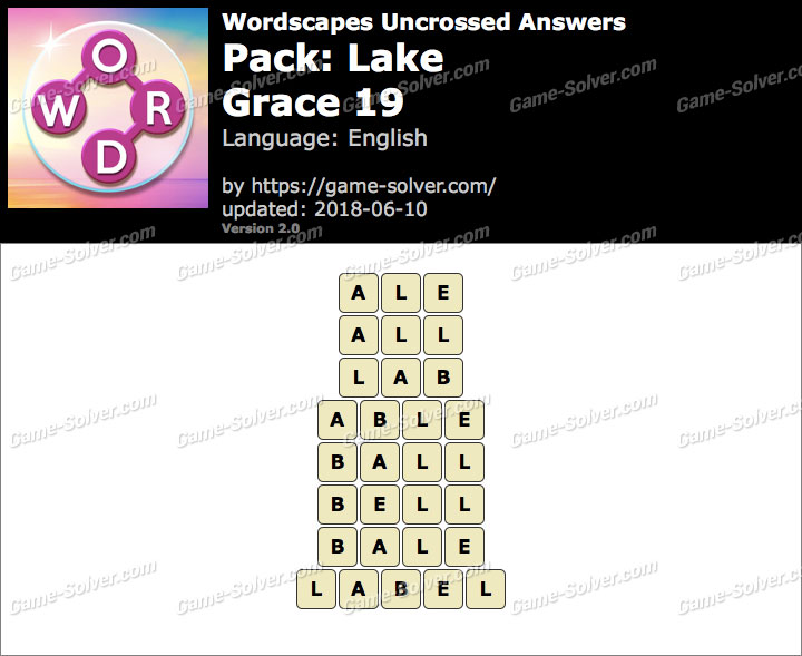Wordscapes Uncrossed Lake-Grace 19 Answers