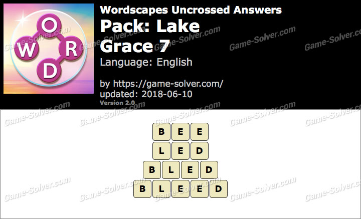 Wordscapes Uncrossed Lake-Grace 7 Answers