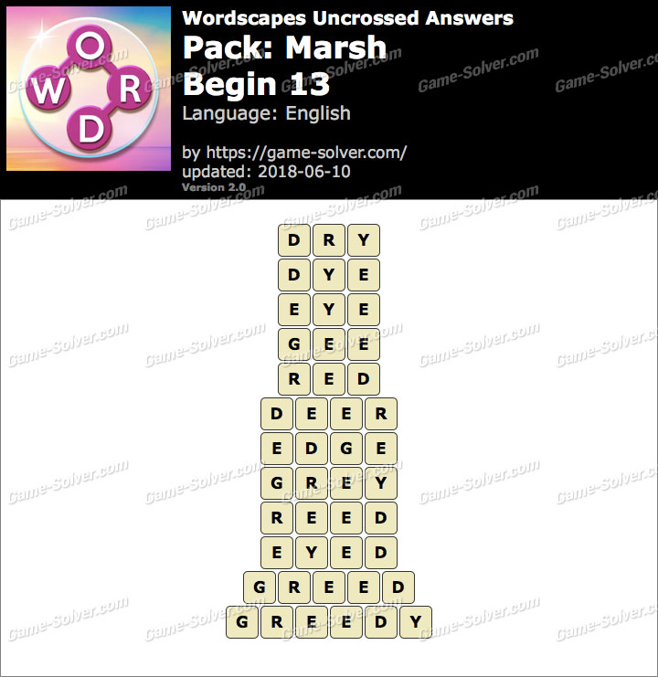 Wordscapes Uncrossed Marsh-Begin 13 Answers