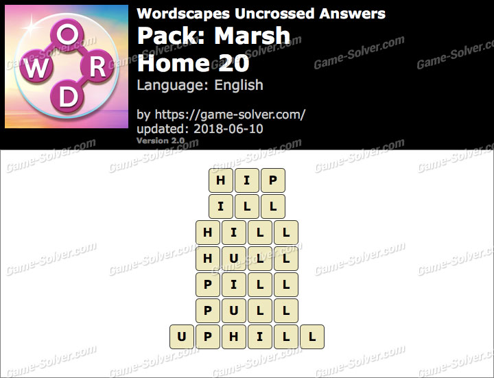 Wordscapes Uncrossed Marsh-Home 20 Answers
