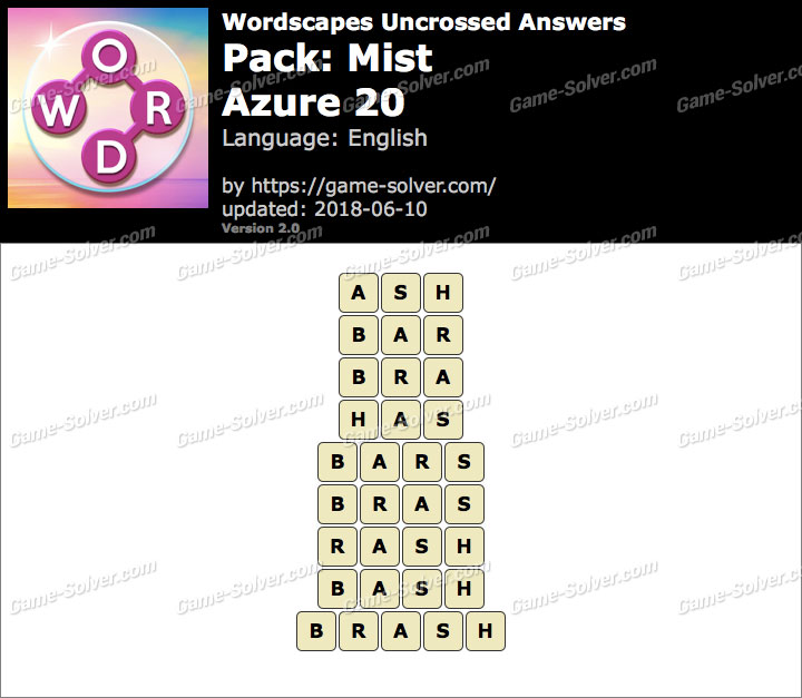 Wordscapes Uncrossed Mist-Azure 20 Answers