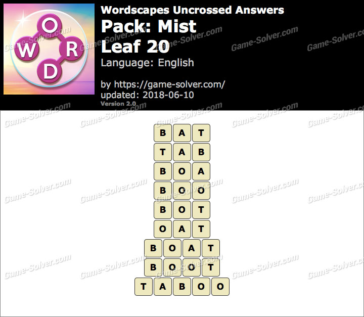 Wordscapes Uncrossed Mist-Leaf 20 Answers