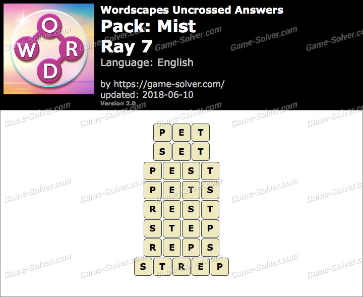 Wordscapes Uncrossed Mist-Ray 7 Answers