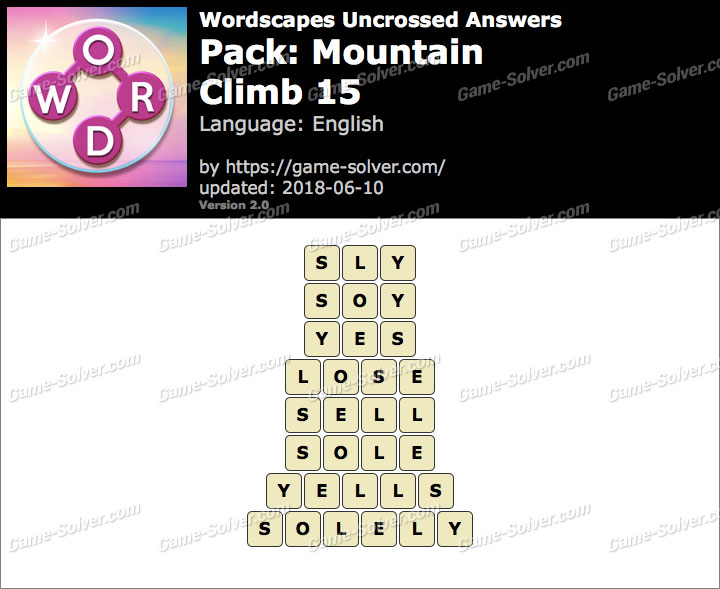 Wordscapes Uncrossed Mountain-Climb 15 Answers