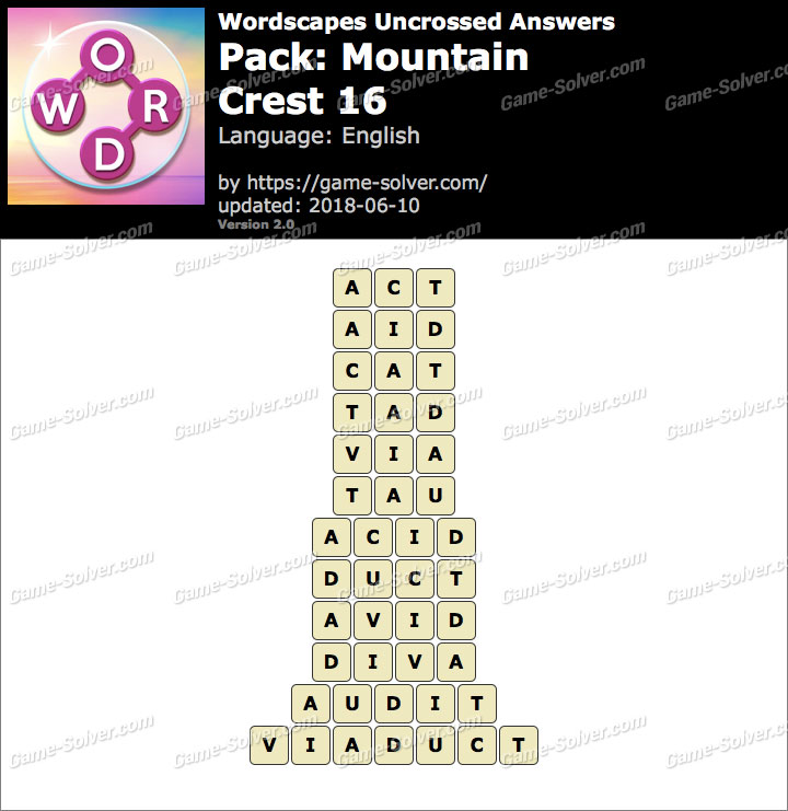 Wordscapes Uncrossed Mountain-Crest 16 Answers