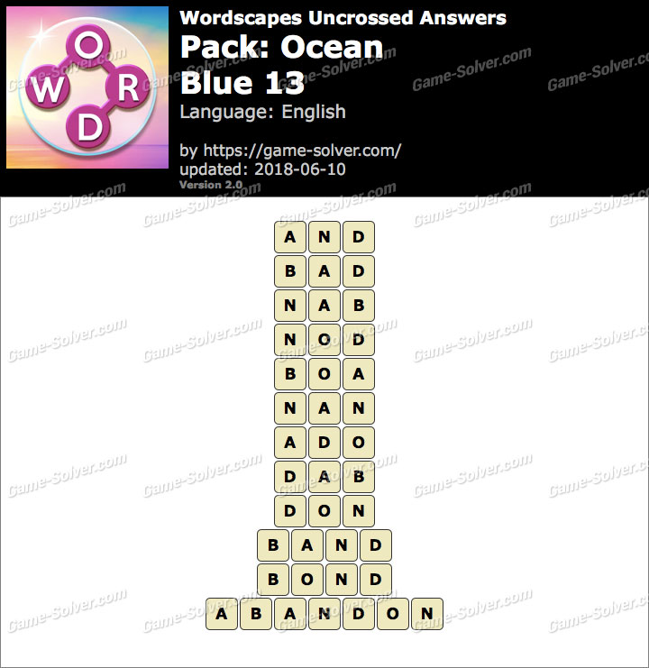 Wordscapes Uncrossed Ocean-Blue 13 Answers