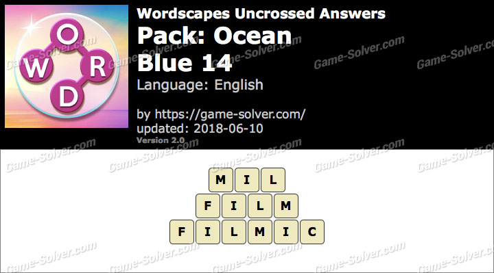 Wordscapes Uncrossed Ocean-Blue 14 Answers