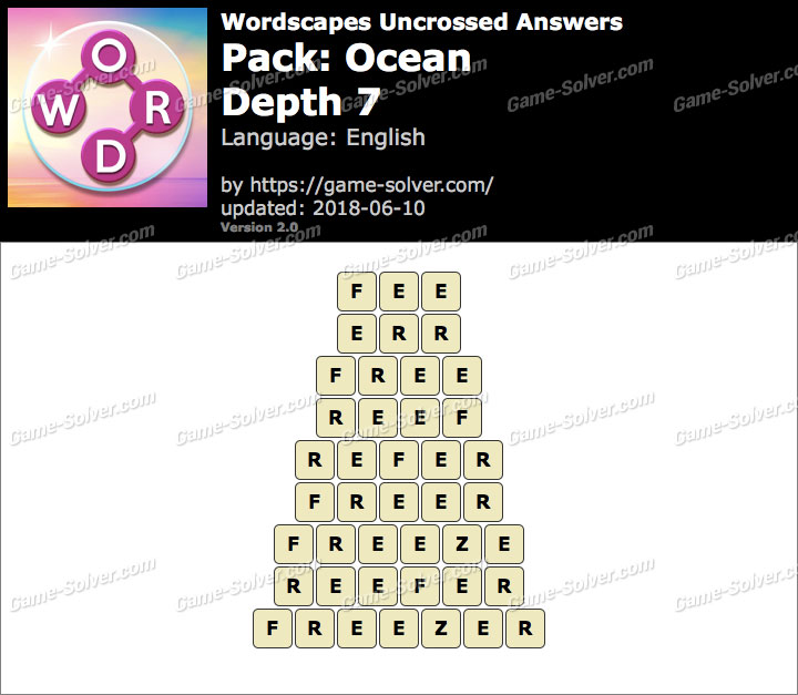 Wordscapes Uncrossed Ocean-Depth 7 Answers