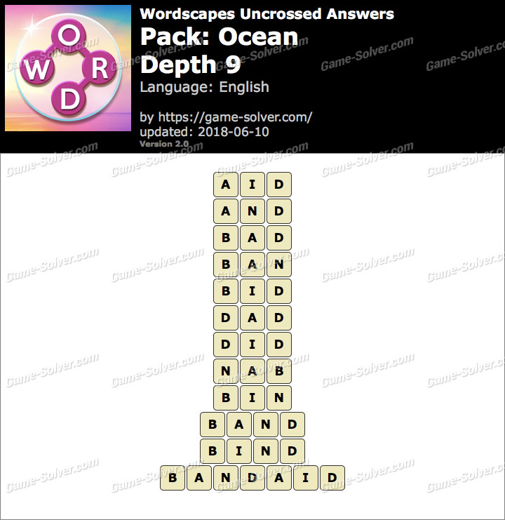 Wordscapes Uncrossed Ocean-Depth 9 Answers