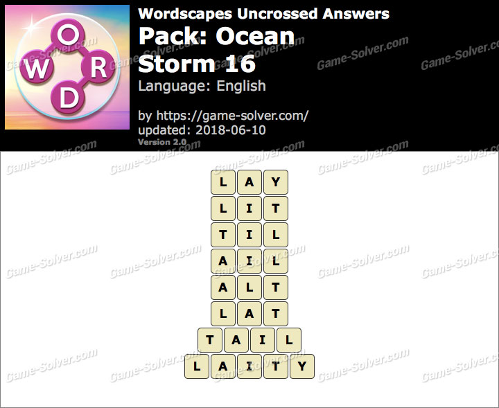 Wordscapes Uncrossed Ocean-Storm 16 Answers