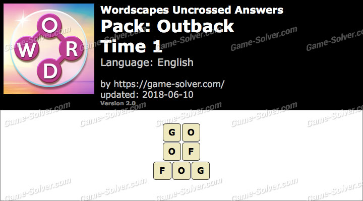 Wordscapes Uncrossed Outback-Time 1 Answers
