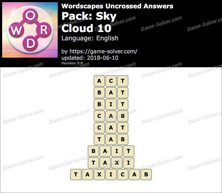 Wordscapes Uncrossed Sky-Cloud 10 Answers