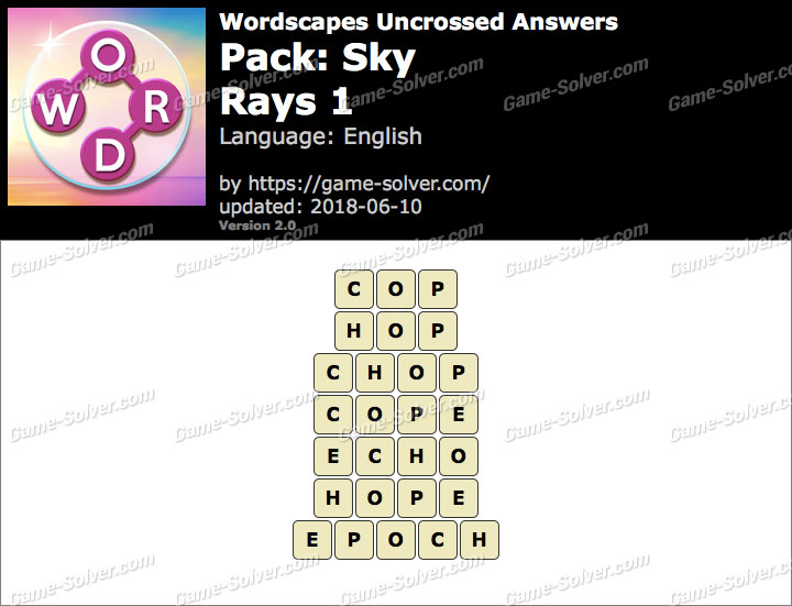 Wordscapes Uncrossed Sky-Rays 1 Answers