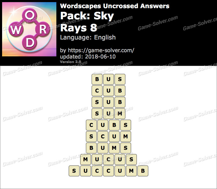 Wordscapes Uncrossed Sky-Rays 8 Answers