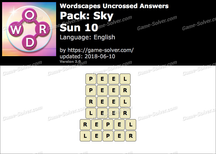 Wordscapes Uncrossed Sky-Sun 10 Answers