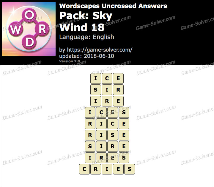 Wordscapes Uncrossed Sky-Wind 18 Answers