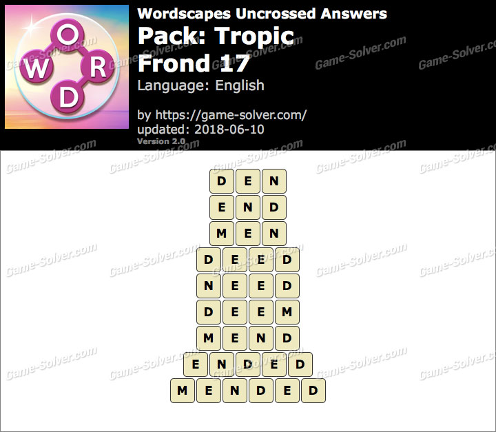 Wordscapes Uncrossed Tropic-Frond 17 Answers