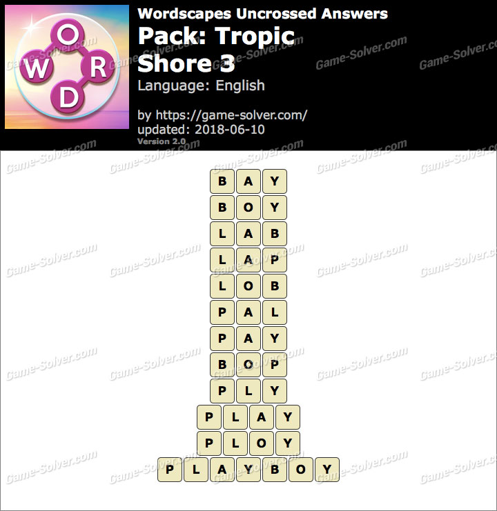 Wordscapes Uncrossed Tropic-Shore 3 Answers