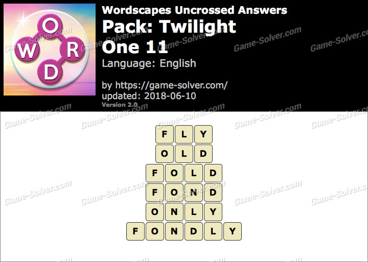 Wordscapes Uncrossed Twilight-One 11 Answers