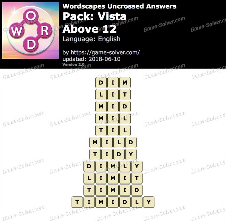 Wordscapes Uncrossed Vista-Above 12 Answers